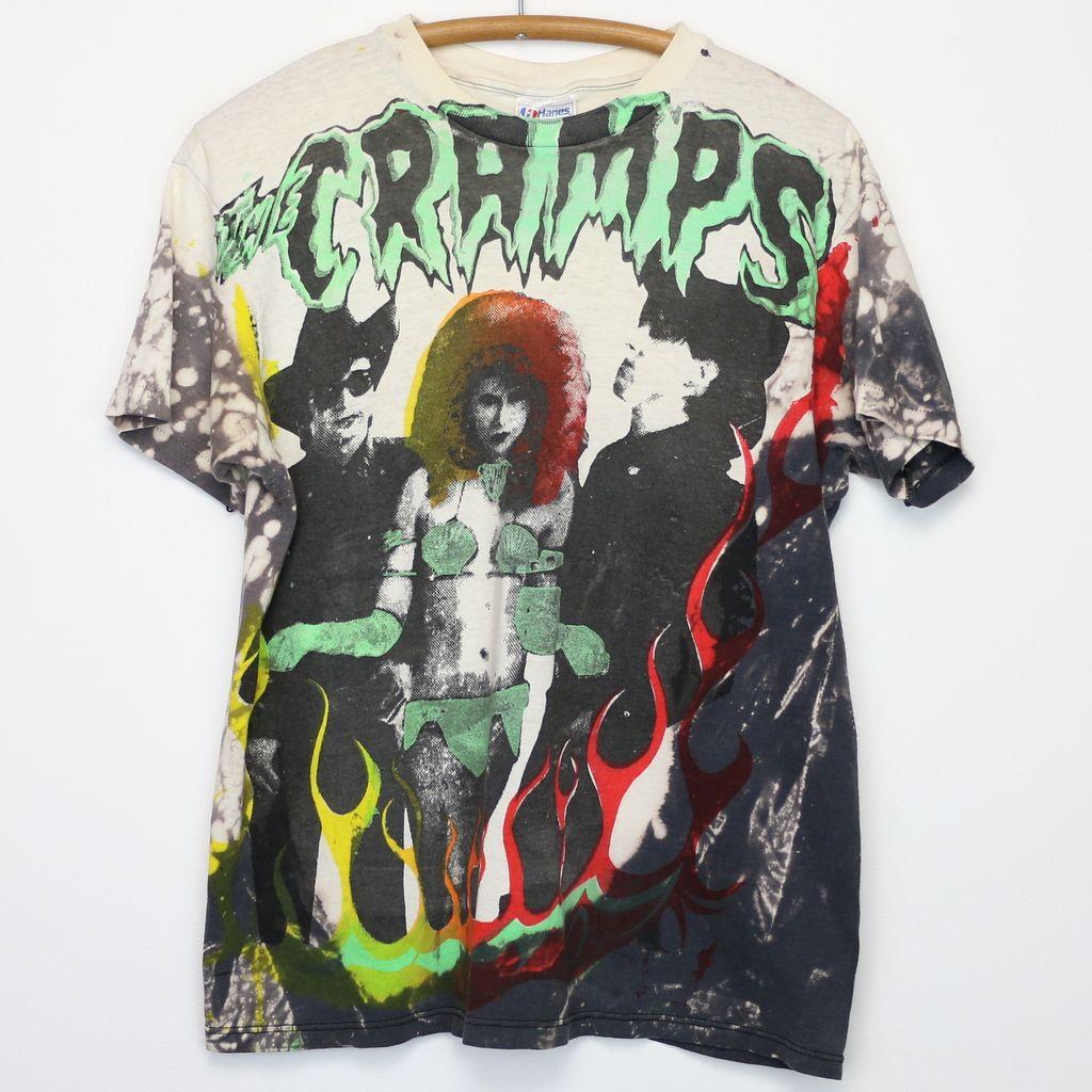 Cramps Mosquitohead All Over Print Shirt 1980s Vintage Band T Shirts Printed Shirts Mens Tshirts