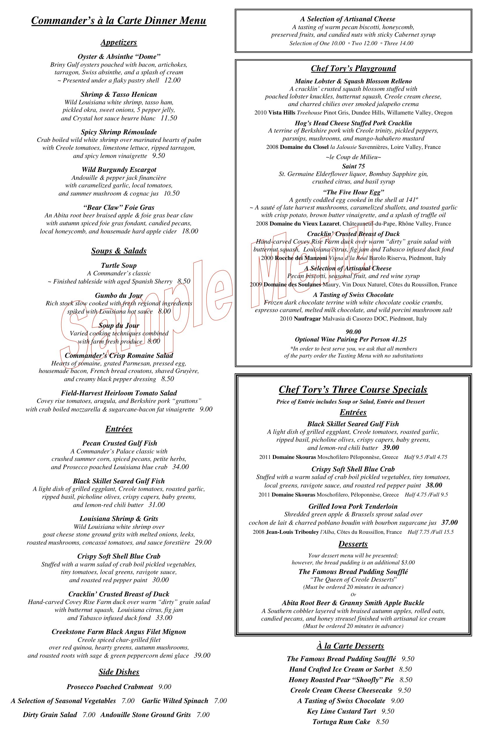 Dinner menu, Commander\'s Palace, New Orleans — Chef Tory McPhail ...