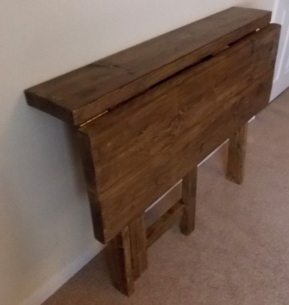 Rustic Space Saving Drop Leaf Breakfast Bar Kitchen Table 014 Etsy Space Saving Kitchen Table Kitchen Table Small Space Small Kitchen Tables