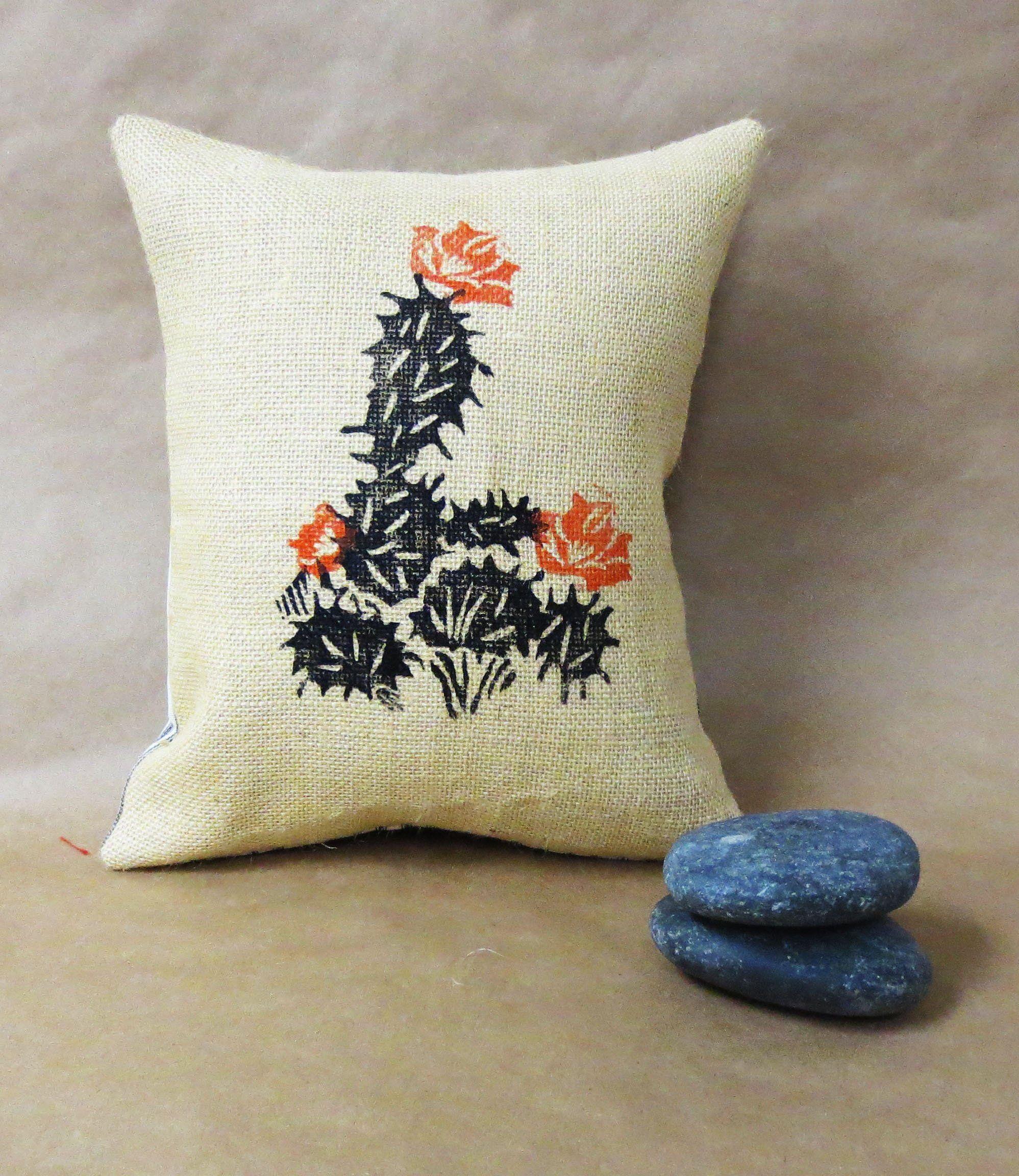 Block printed cactus pillow hand printed burlap pillow wit desert