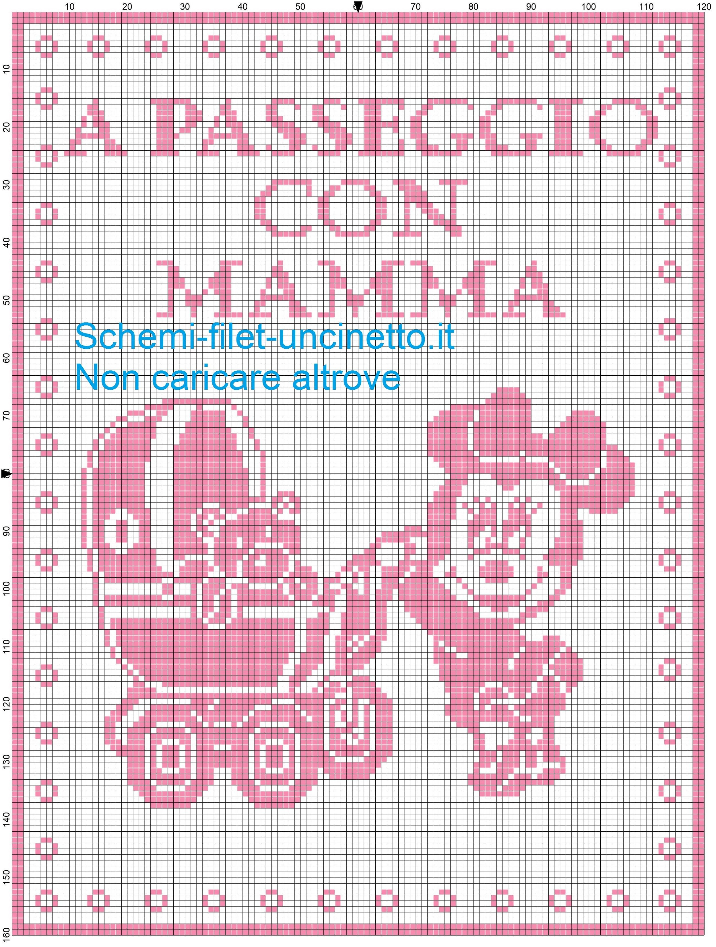 copertina filet Minnie com carrozzina a passeggio con mamma schema ...