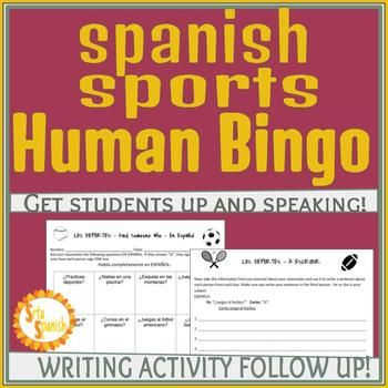 Los Deportes Sports Speaking Activity Sentences, Spanish and - student sign in sheet