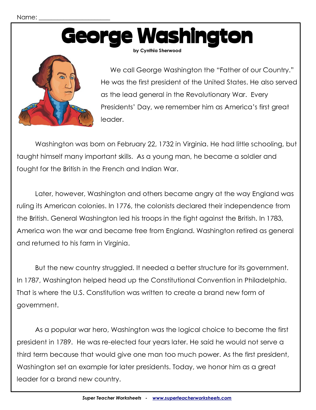 president's day coloring worksheet | George Washington Worksheets ...