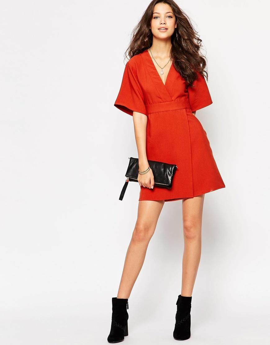 Glamorous Tall | Glamorous Tall Plunge Front Dress With Wrap Detail at ASOS