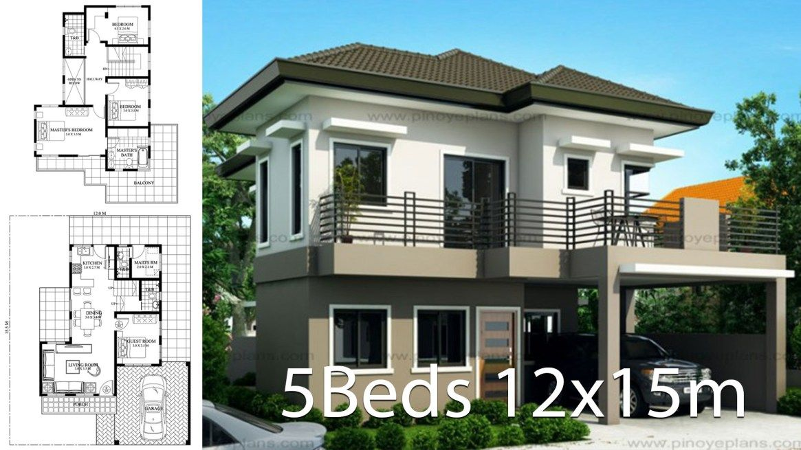 House Design 12x15m With 5 Bedrooms Home Design With Plansearch 2 Storey House Design House Architecture Design House Design
