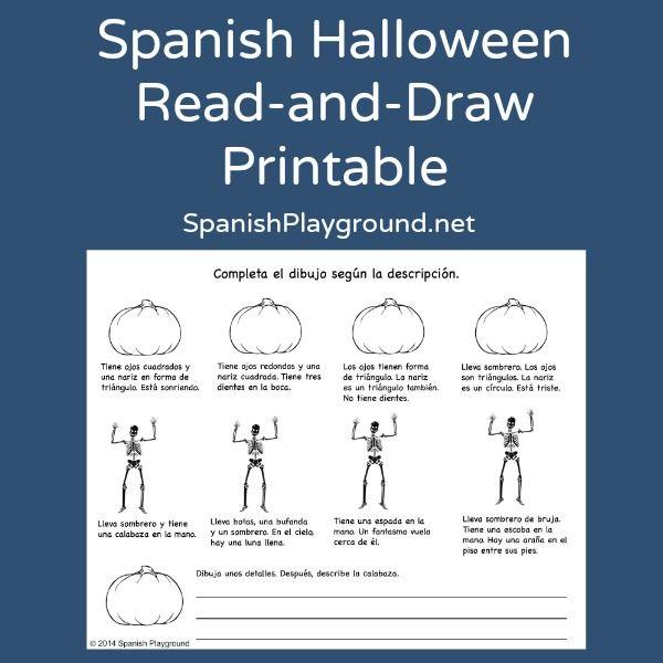 Spanish Halloween Read And Draw Printable How To Speak Spanish