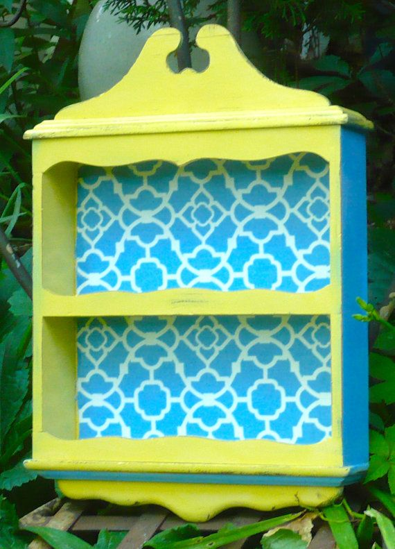 Curio Cabinet, Knick Knack Cabinet, Blue Yellow, Wooden Shelf ...
