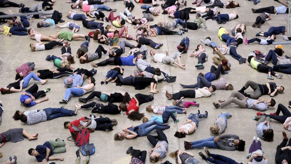 """Dancers take part in the """"Musee de la Danse,"""" choreographed by Boris Charmatz, at the Tate Modern art gallery in London on Saturday, May 16."""