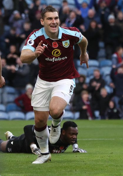 Sam Vokes of Burnley celebrates after he scores during the Premier League match between Burnley and Crystal Palace at Turf Moor on November 5, 2016 in Burnley, England.