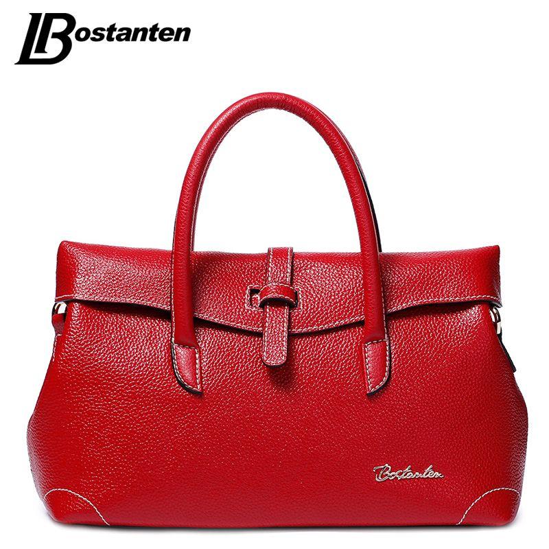 Bostanten 2017 Fashion Split Leather Women Bags Luxury Brand Designer Ol Las Handbags High Quality Red