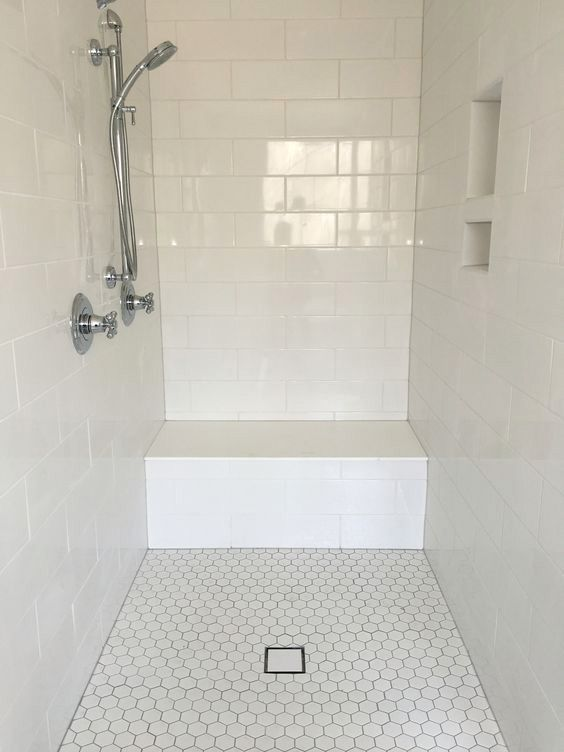 Large White Subway Tile Shower Surround With Hexagon Floor Tile | Wall Tileu2026