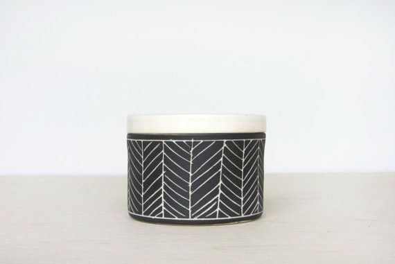 Ceramic Herringbone Salt Cellar in Black