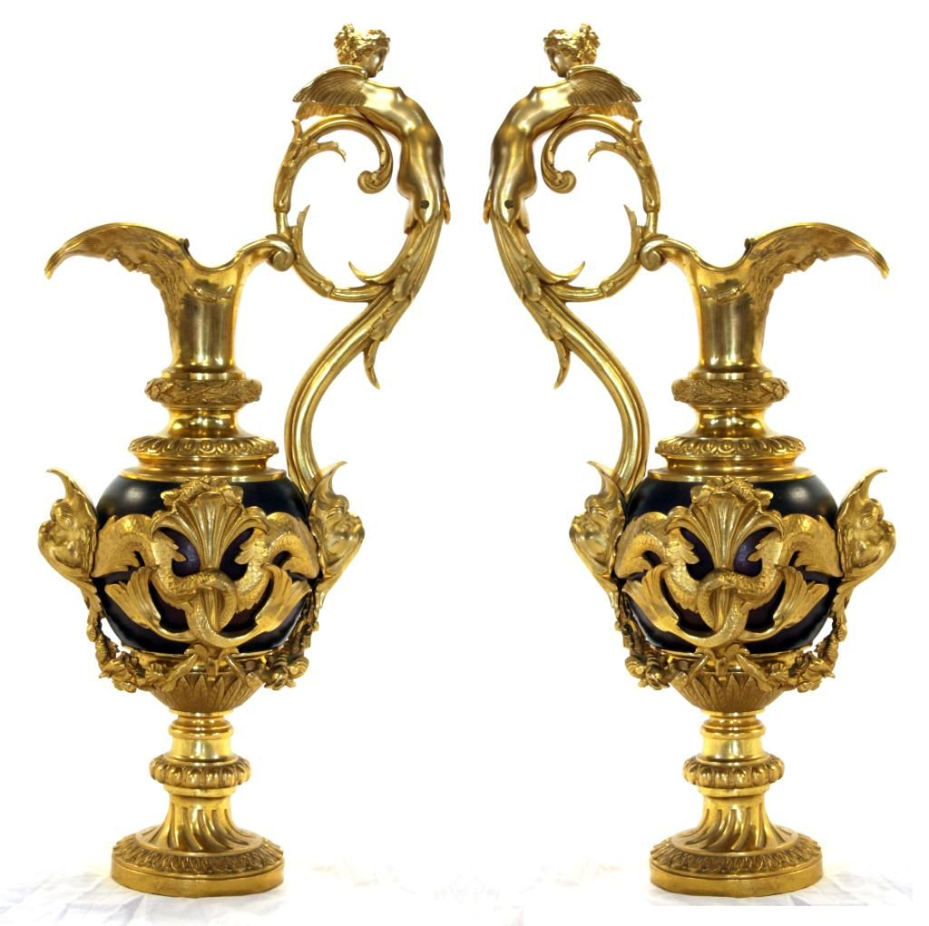 Pair of 20th century dore bronze figural ewers jarrones antiguos pinterest madera y metal - Biombos chinos antiguos ...