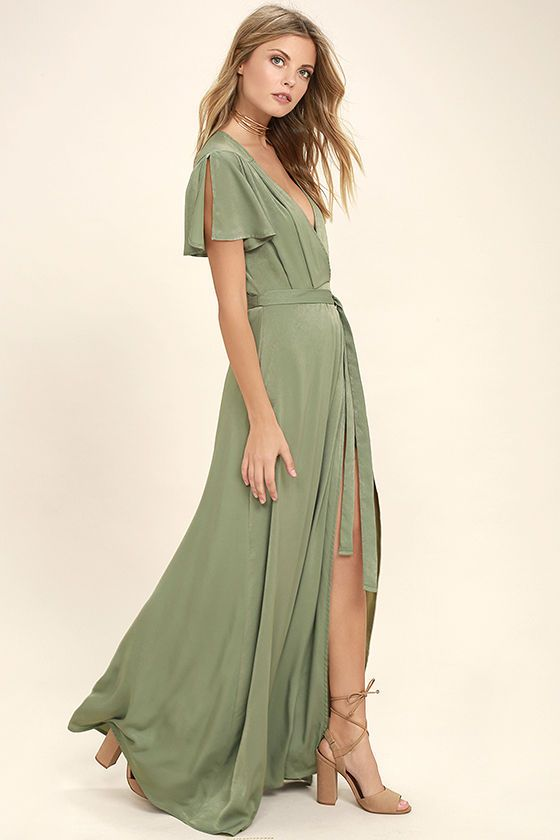 bbb966cf17 Gaze across the skyline in the City of Stars Sage Green Maxi Dress! Soft  woven poly shapes a plunging surplice neckline and fluttering short sleeves.