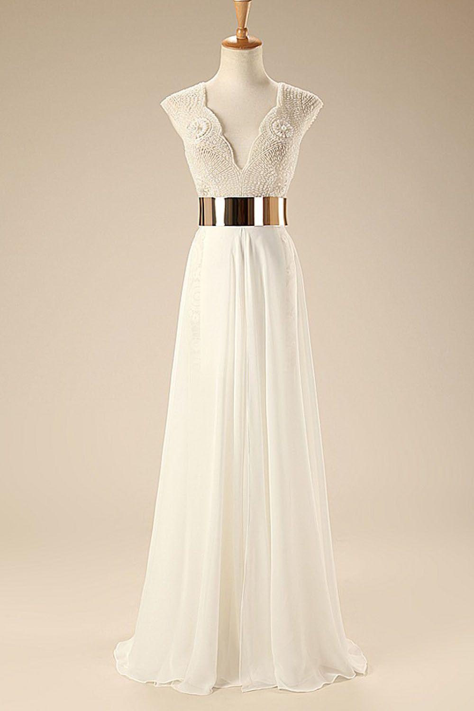 Simple beach wedding dress  Deep V Neck Cap Sleeves White Chiffon Gold Belt Summer Beach Wedding