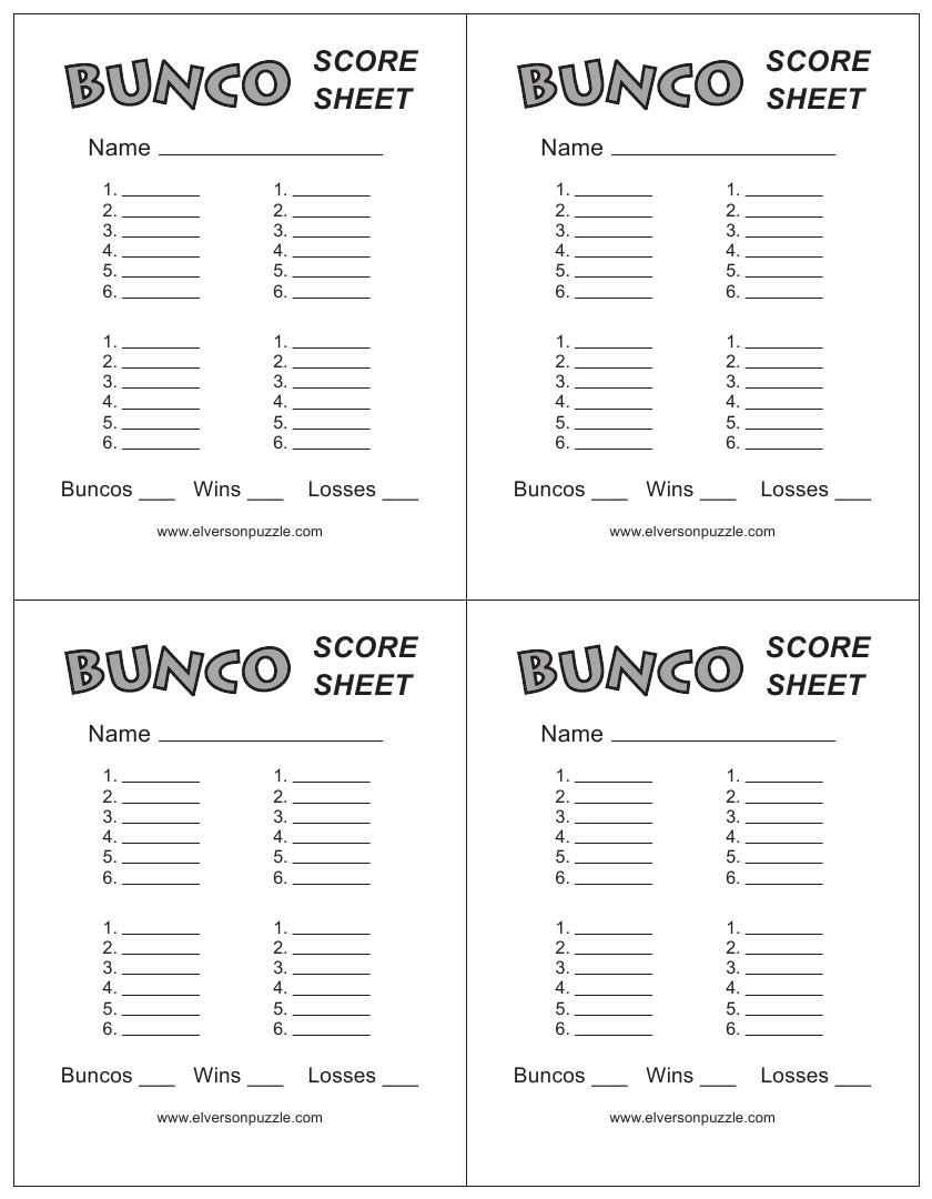 Free Printable Bunco Score Sheets Only – Bunco Score Sheets Template