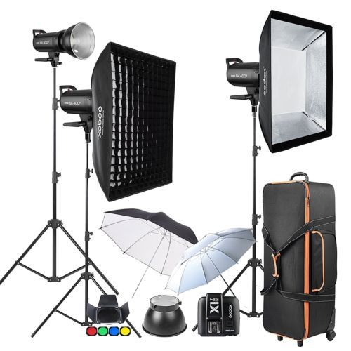 1200w 3x Godox SK400II 2.4G Strobe Flash Kits for Photography Lighting for Nikon