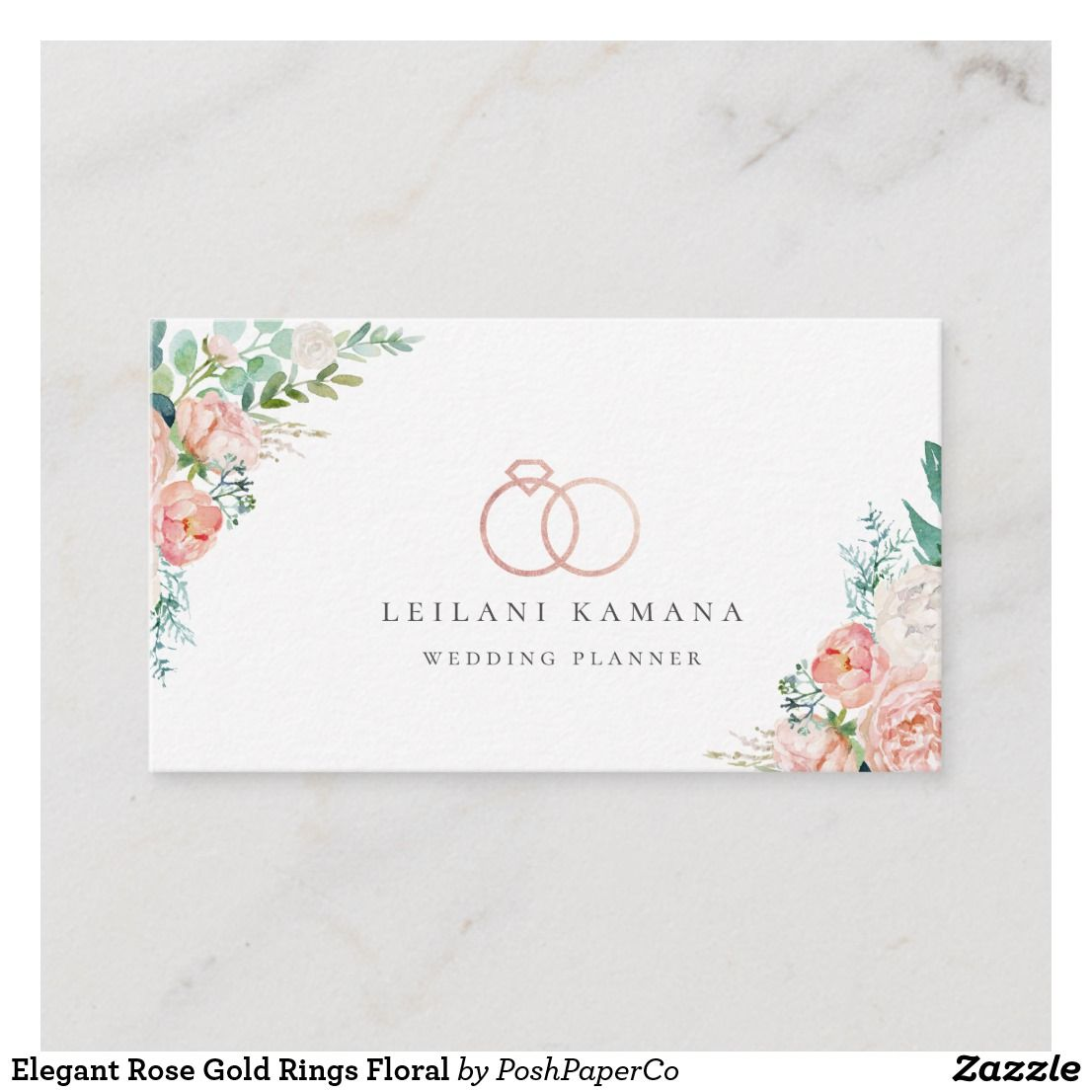 Elegant Rose Gold Rings Floral Business Card Zazzle Com With