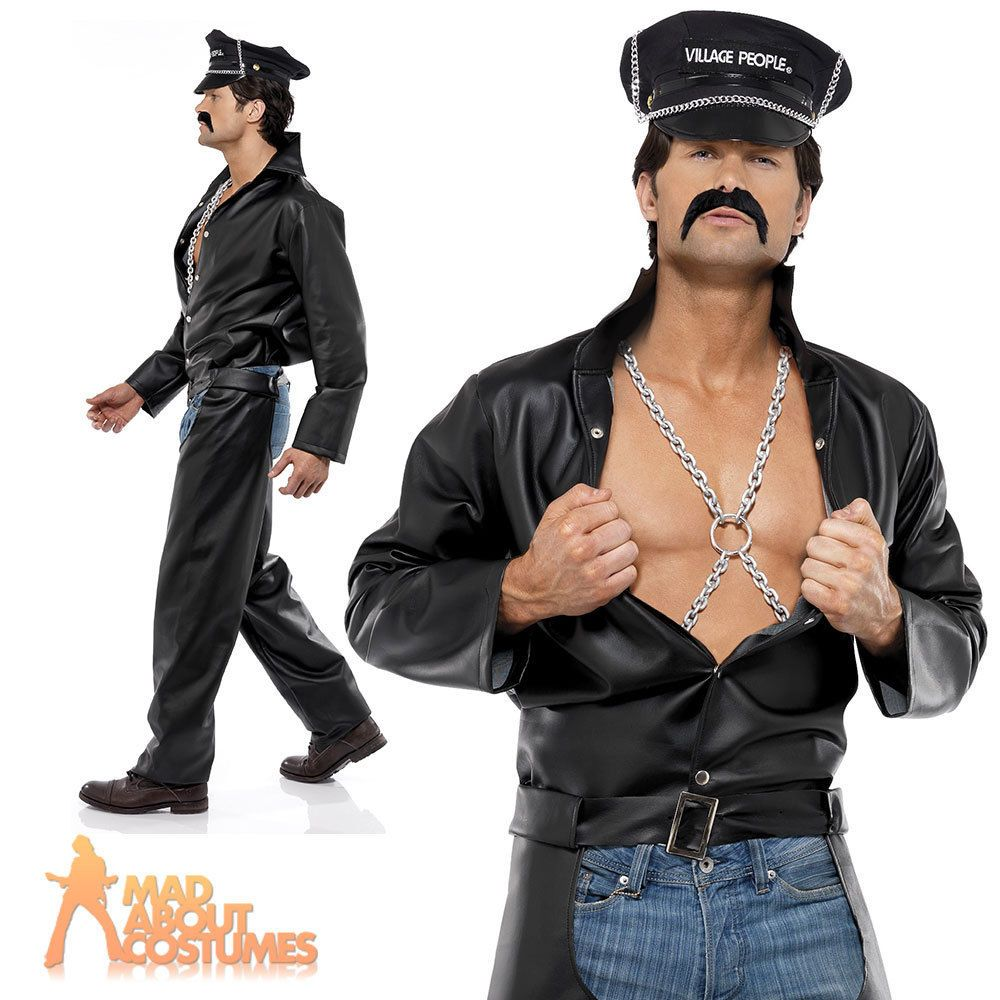 538360563554 Adult Village People Biker Costume Mens YMCA 1970s Fancy Dress Outfit New