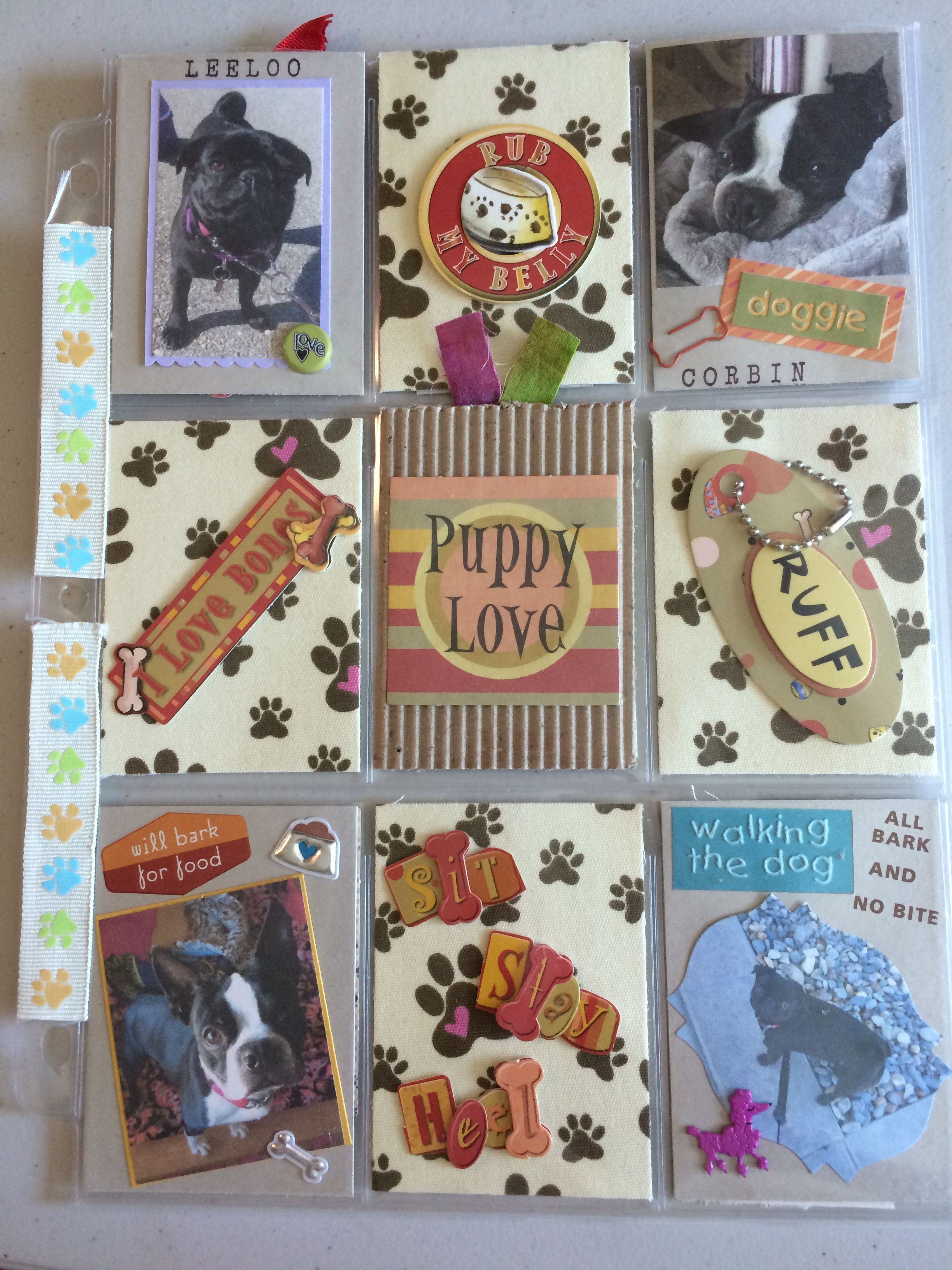 Dog Theme pocket letter I added photos of my pug & Boston Terrier