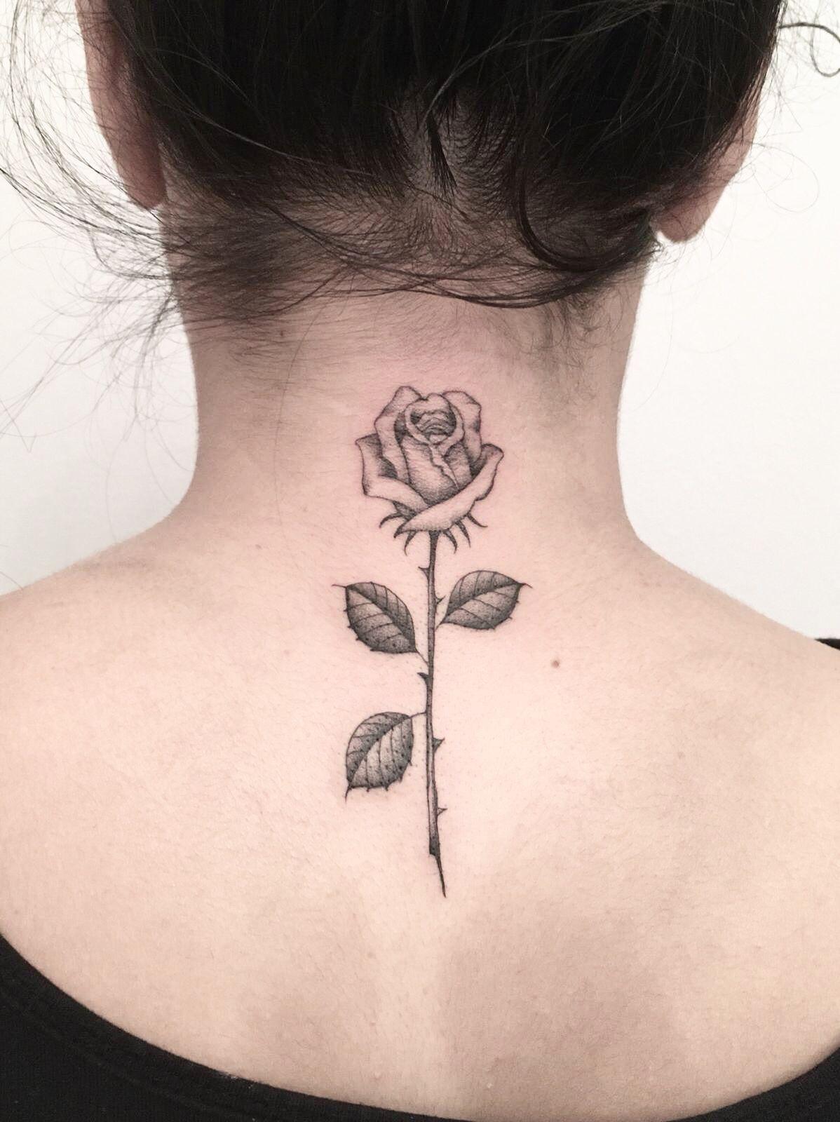 Rose Tattoo Rose Neck Tattoo Neck Tattoo Back Of Neck Tattoo
