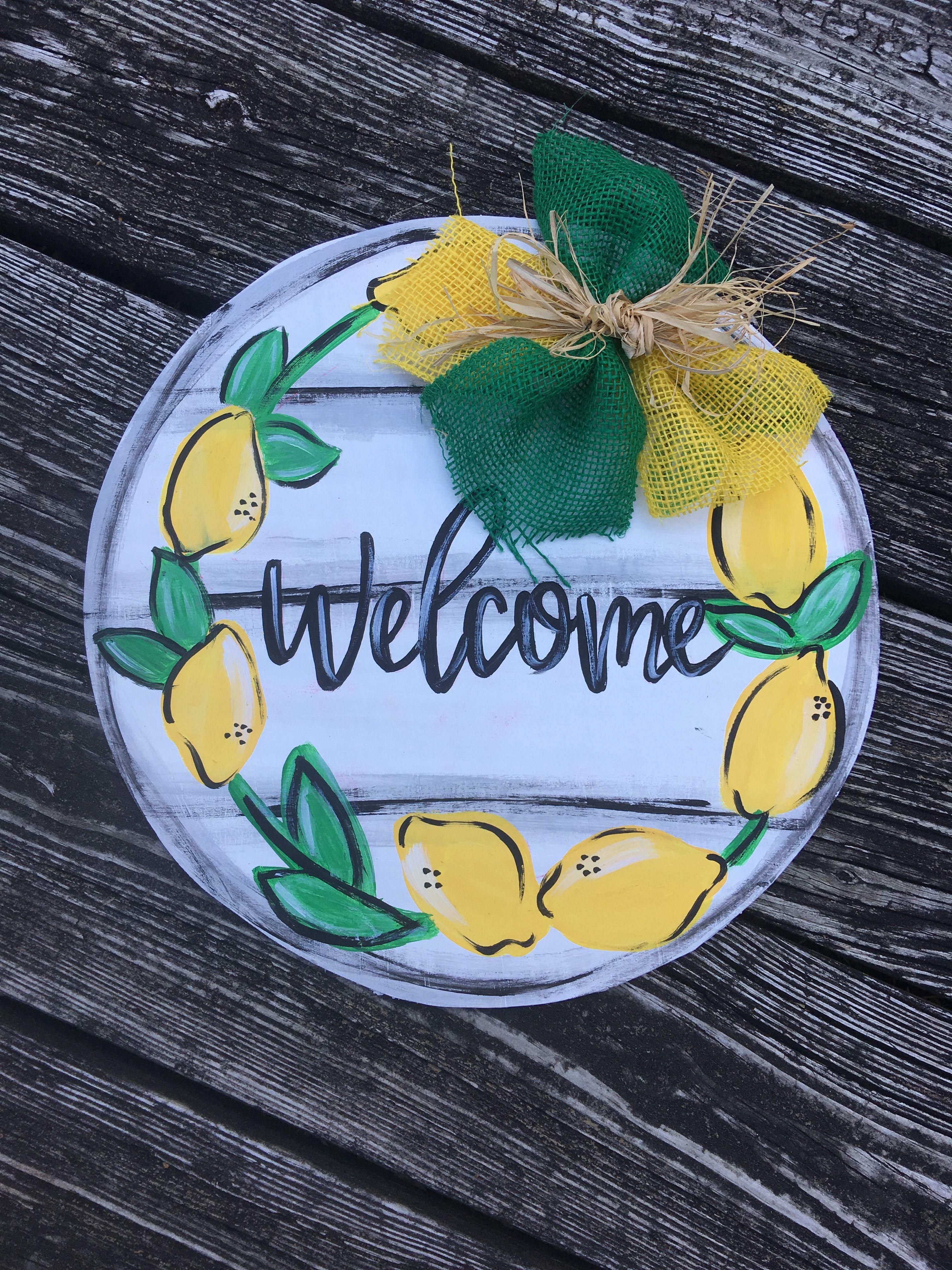 Lemon Welcome Door Hanger Lemons Doorhangers Summer Door Signs Diy Door Hangers Door