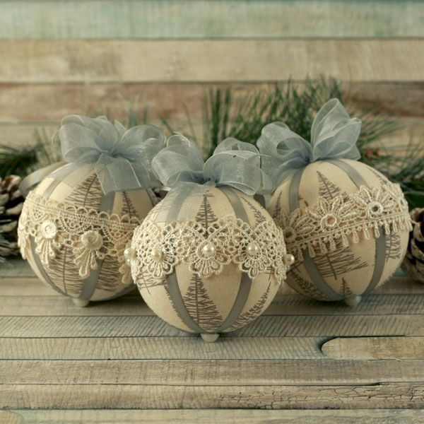 Silver Scandinavian Fabric Christmas Baubles with Guipure Lace Set of Three Handmade Vintage Style Lace Christmas Ornaments in a Natural Scandi Fabric with Grey Nordic Tree Motifs