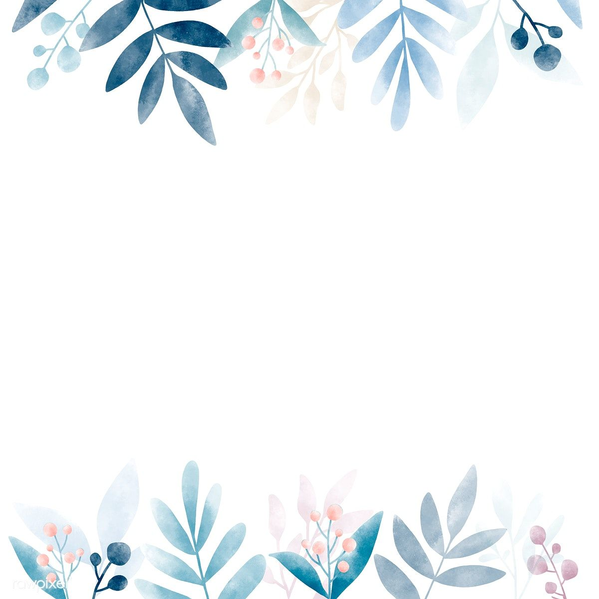 Watercolour Leaves Frame Border Clip Art Graphic Design Png