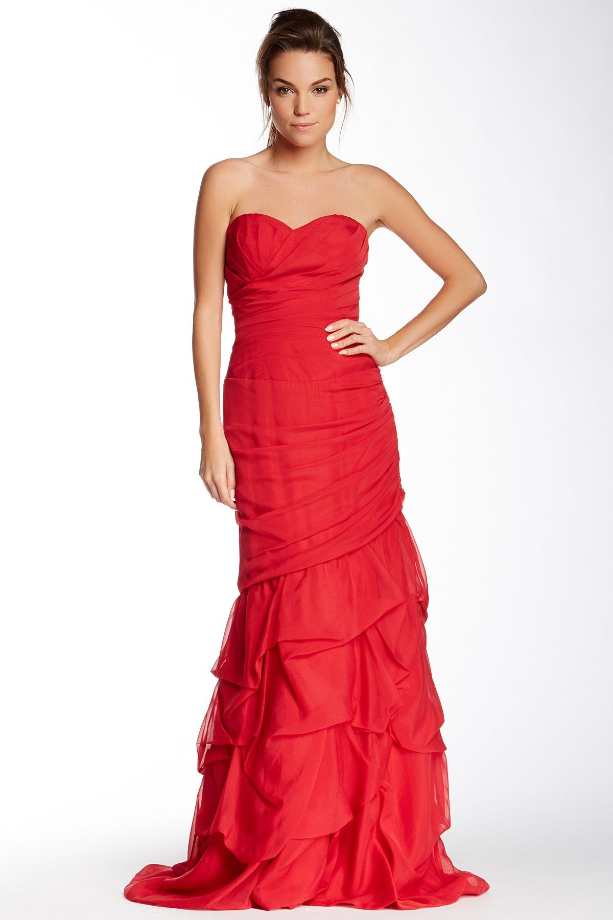 Dalia macphee ruched strapless gown by dalia macphee on hautelook