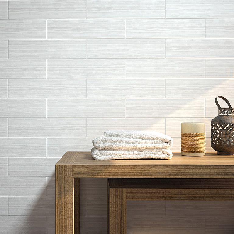 Satin Finished Wall Tiles Size 100 X 400 X 8mm White Ceramics Ceramics White Walls