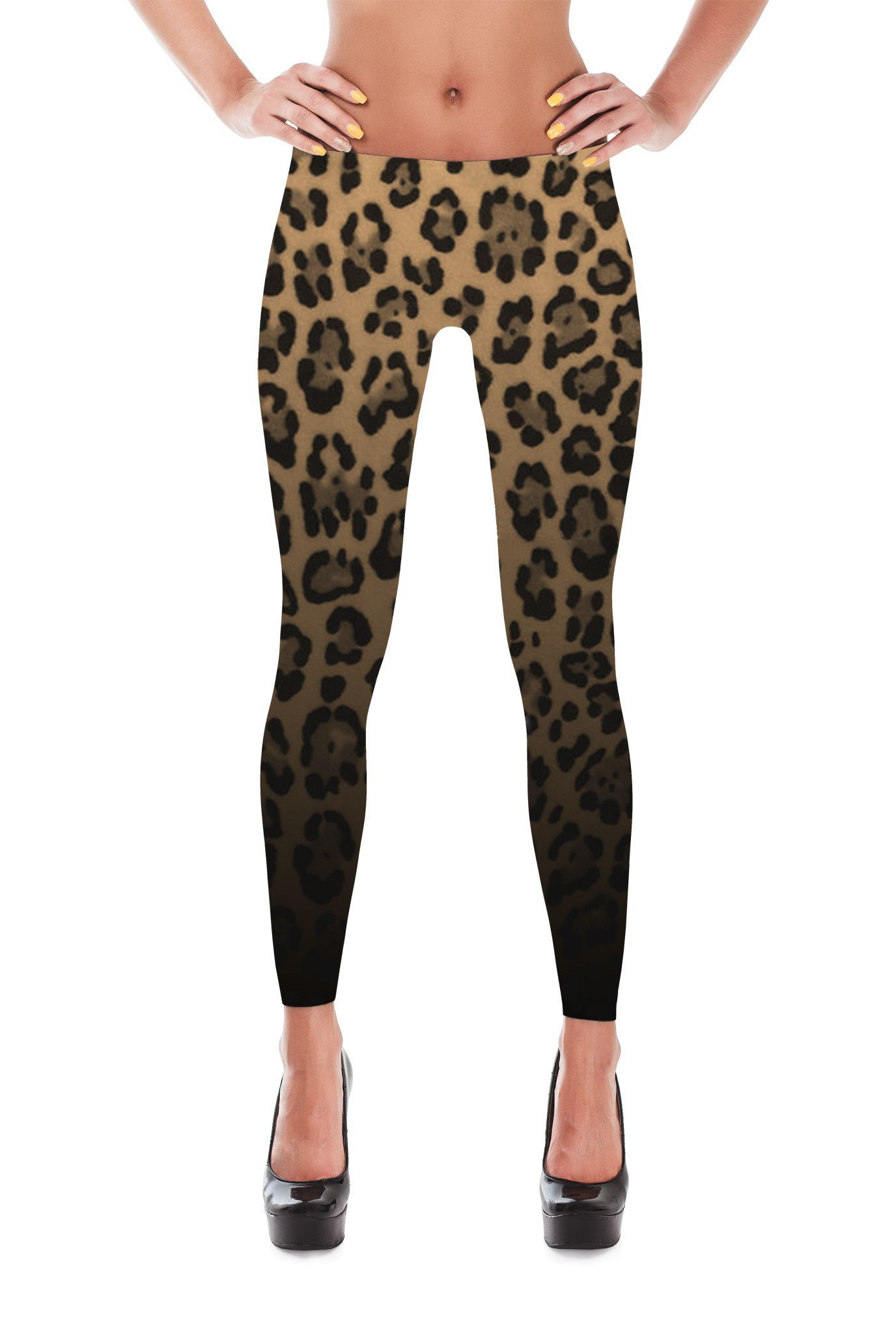 Awesome Leopard pattern print Leggings. Shiny, durable and hot. These polyester/spandex leggings will never lose their stretch and provide that support and comfort you love in unique designs. Made of