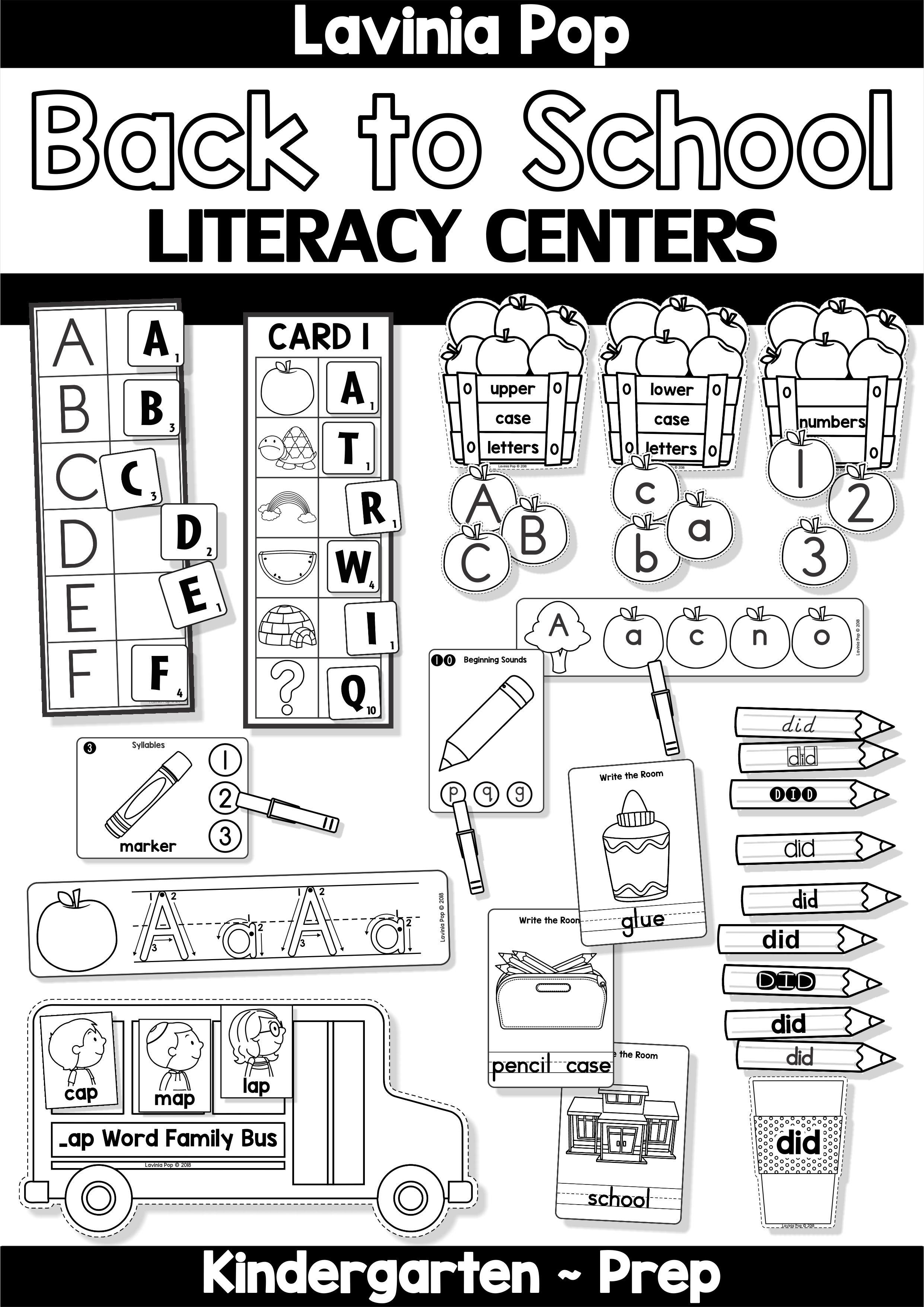 Back To School Literacy Centers For Kindergarten B Amp W