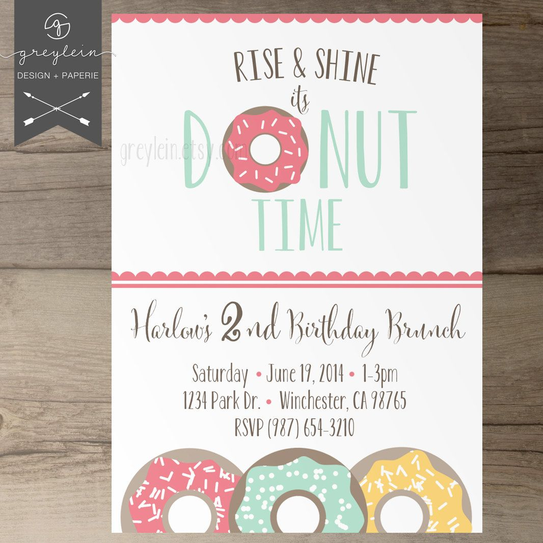 Rise and shine its donut time birthday party invitations donut birthday party invitations invites rise and shine its donut time kids birthday stopboris Images