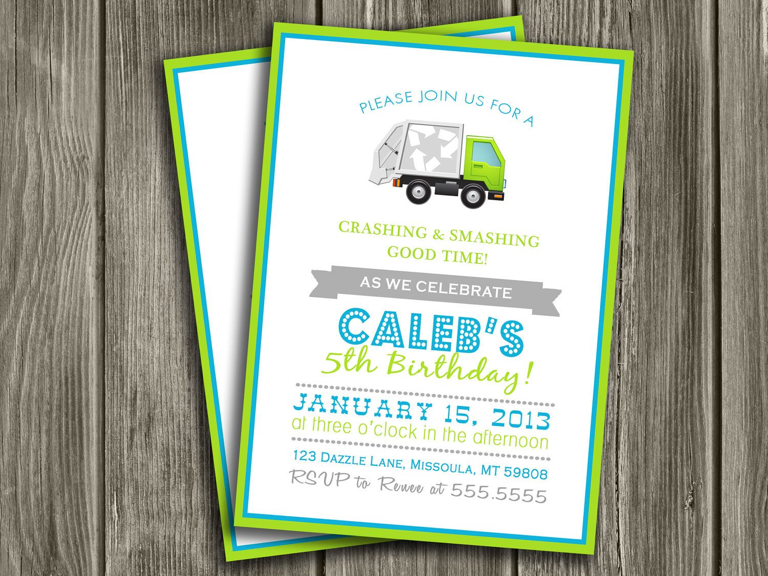 Garbage truck birthday invitation free thank you card included garbage truck birthday invitation free thank you card included 1500 via etsy filmwisefo Image collections