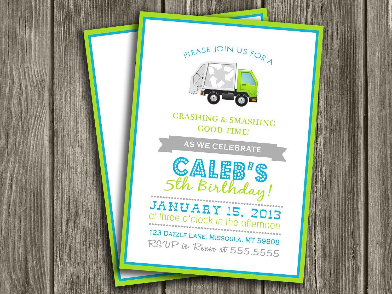 Garbage Truck Birthday Invitation FREE thank you card included – Garbage Truck Birthday Invitations