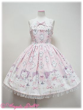 Cat Tea Party JSK Set by Angelic Pretty 2012 [Grey] eeek, everything about this candy store Loli dress is cuuuute!