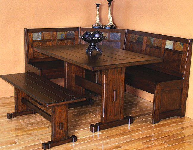 Rustic Santa Fe Breakfast Nook Set With Table Side Bench Dining