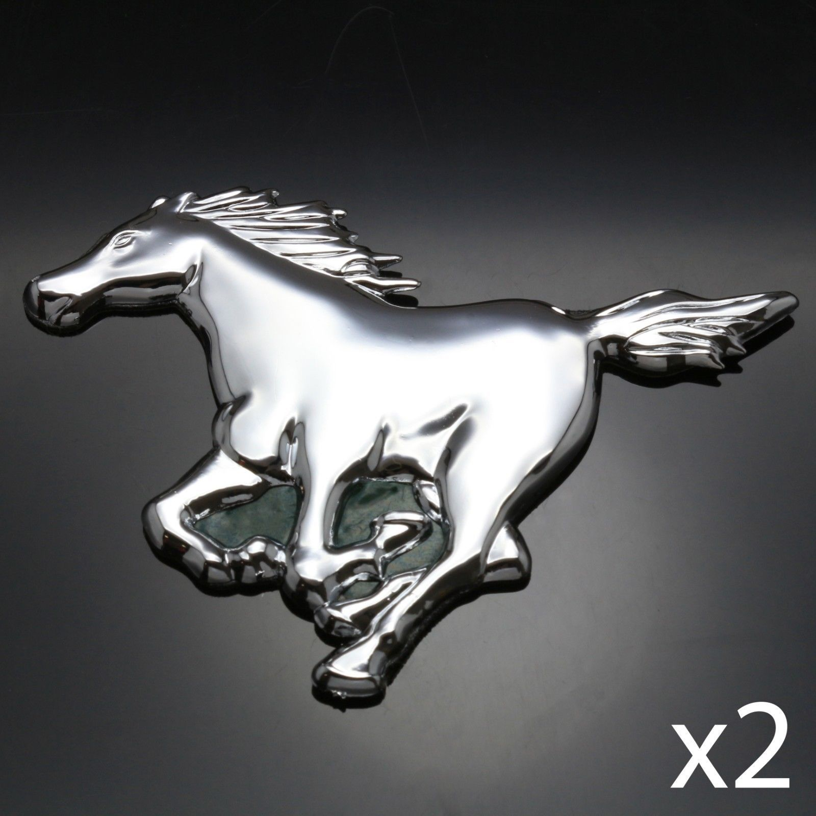 2x chrome 3d car badge mustang horse power emblem sticker decal 2x chrome 3d car badge mustang horse power emblem sticker decal silver sign biocorpaavc Gallery
