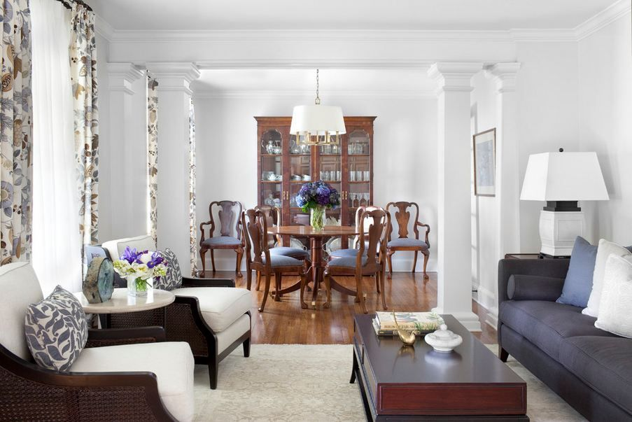 Living Room Dining Room Combo Separate With Columns Dining