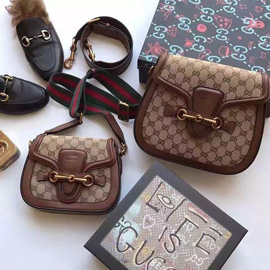 6d32b6a81847 Gucci Lady Web Original GG Canvas Shoulder Bag Brown 383848   Gucci ...