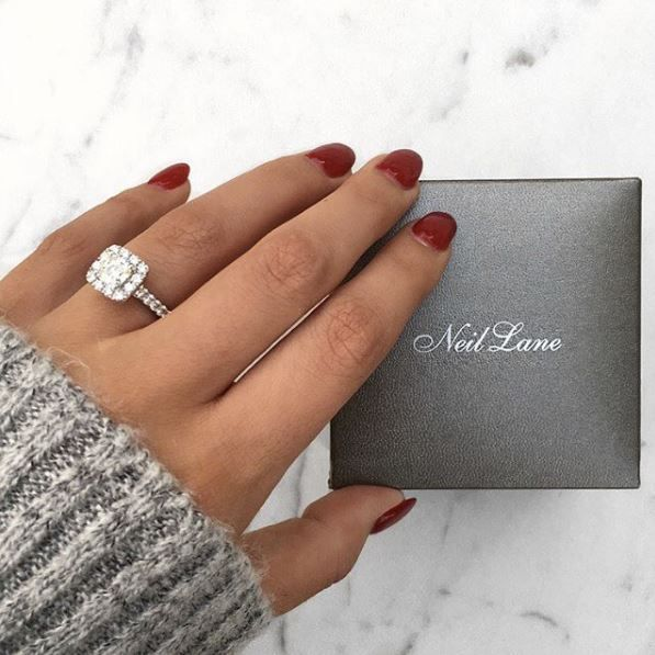 1d1f8d8a18ea Neil Lane cushion cut halo ring from Kay Jewelers. Follow  alexandrachammer  on Instagram for more fashion