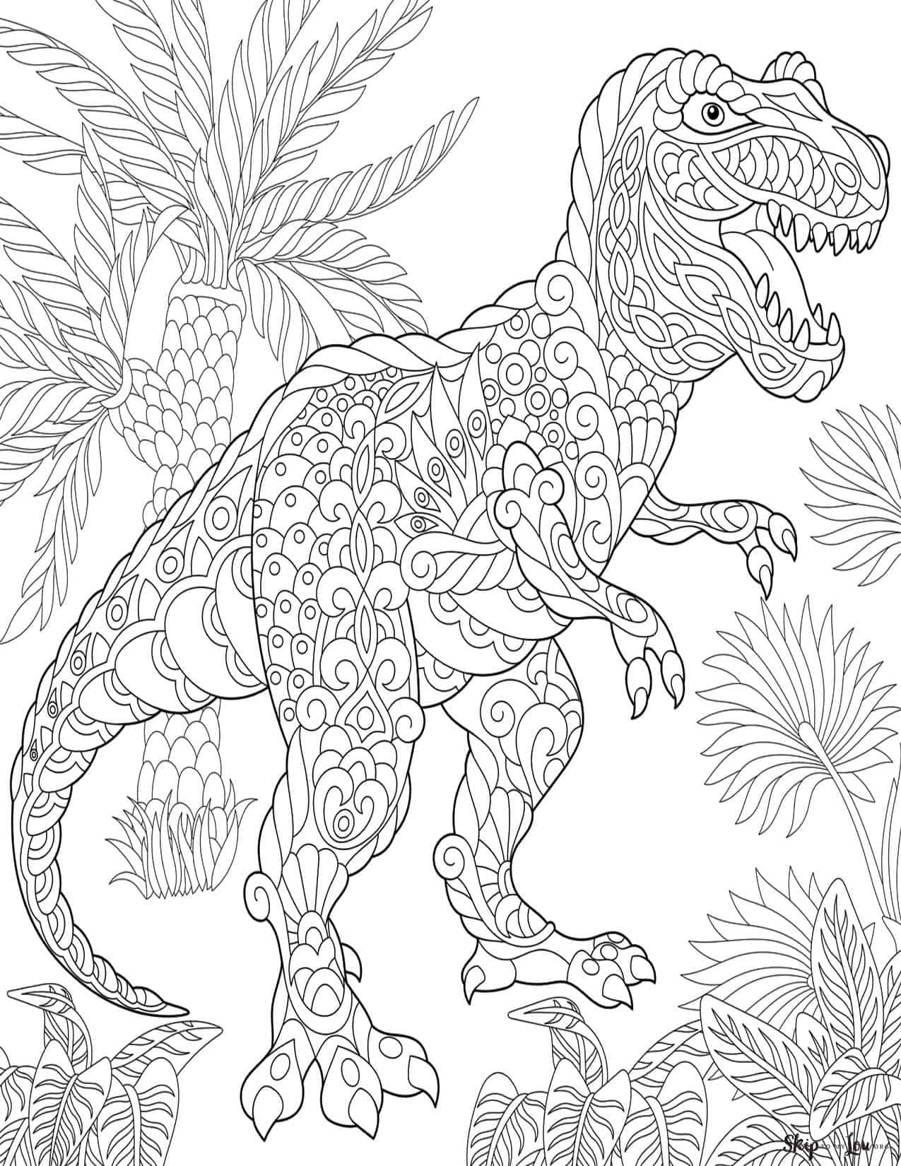 Dinosaur Art Coloring Pages Design