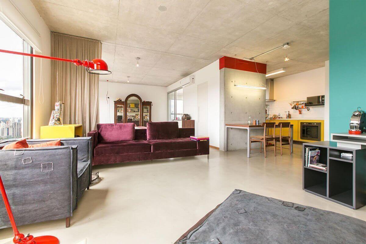 Sala De Estar Integrada Com Cozinha Pilar De Concreto Aparente