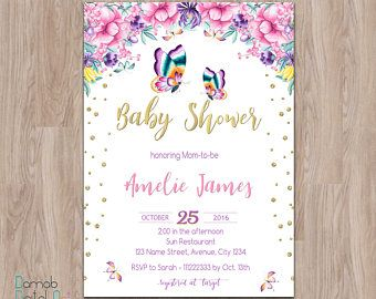 Butterfly baby shower invitation Floral baby shower invitation