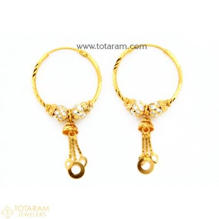 Gold Hoop Earrings Ear Bali in 22K Gold 235 GER7223 Buy this