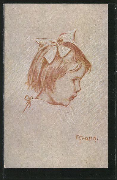 Künstler-AK Elly Frank: Kleines Mädchen mit Schleife im Haar, Kinderportrait 0