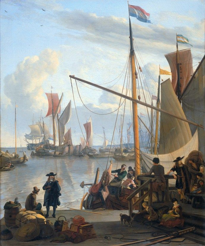 .:. View from the Mussel Pier in Amsterdam by Ludolf Backhuysen 1673