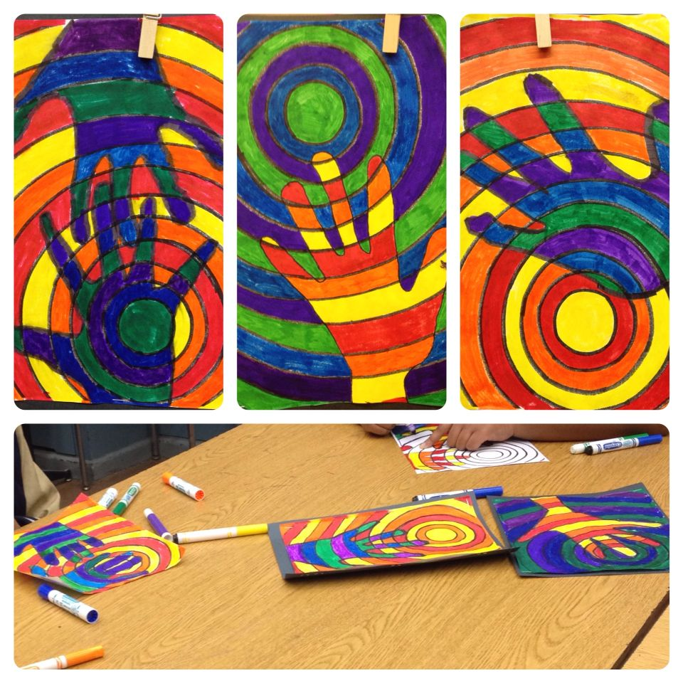 Cool & Warm Color Hands Art Lesson // special education artwork ...