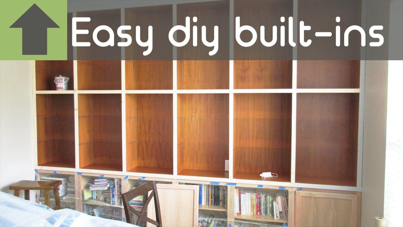 foto de CHEAP AND EASY DIY BUILT-IN SHELVES!! - YouTube | Diy built in ...