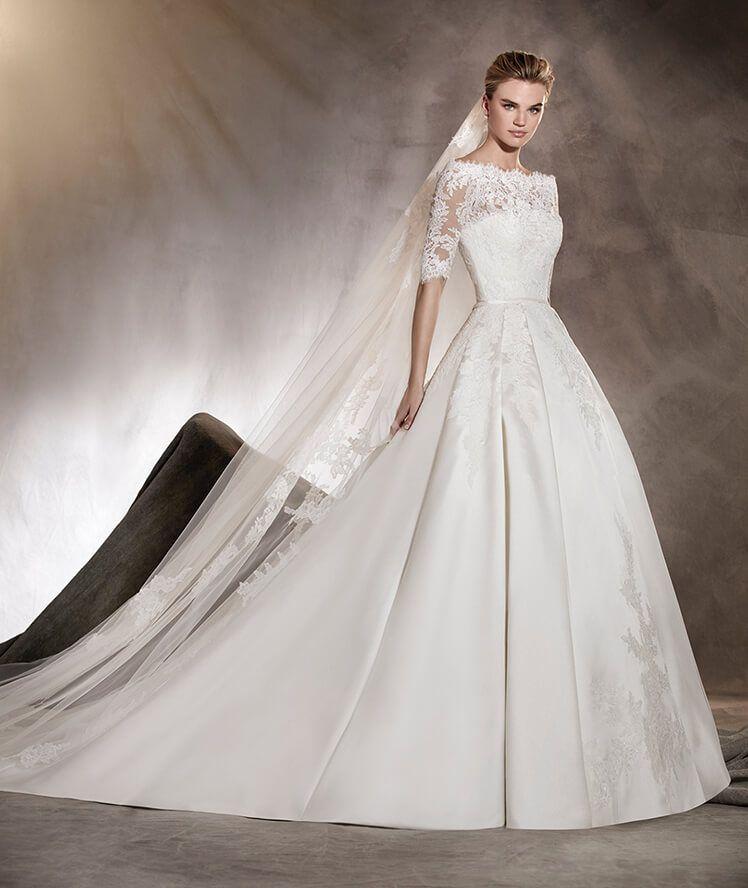 Albasari - Brautkleid mit Carmen-Ausschnitt und Rock aus Mikado ...
